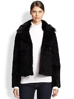 Glamourpuss - Embossed Fox & Rabbit Fur Jacket
