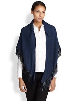 Bajra - Leather Fringe Cashmere & Silk Shawl