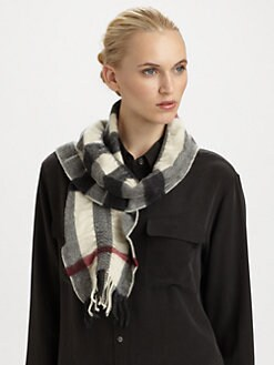 Burberry - Ruched Check Cashmere Scarf