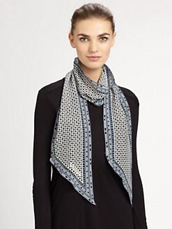 Burberry - Silk Geometric Print Scarf