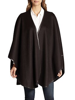 Sofia Cashmere - Reversible Leather Trim Cape