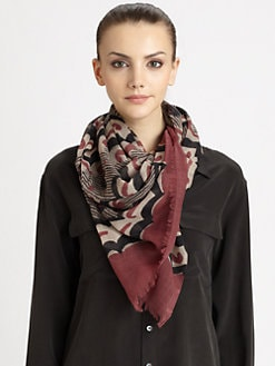 Burberry - Floral Stripe Wool Scarf