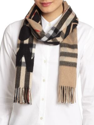 Plaid Overprint Cashmere Scarf
