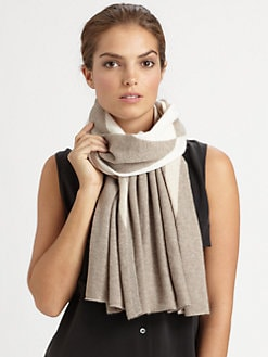 White + Warren - Cashmere Chevron Instarsia Scarf