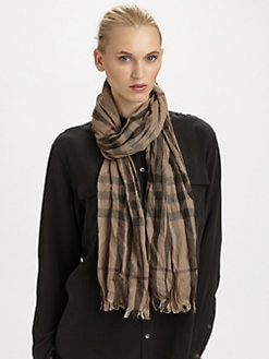 Burberry - Crinkle Check Cashmere Scarf