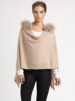 Minnie Rose - Removable Raccoon Fur-Trimmed Ruana Hoodie