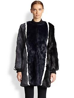 Jocelyn - Striped Rabbit Fur Coat <br>