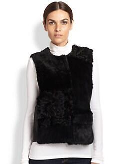 Jocelyn - Fur &amp; Leather Patchwork Vest <br>
