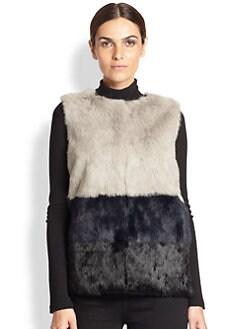 Jocelyn - Colorblocked Rabbit Fur Vest <br>