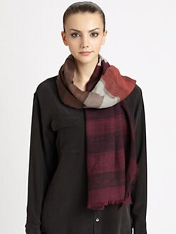 Burberry - Layered Stripe Wool & Silk Scarf