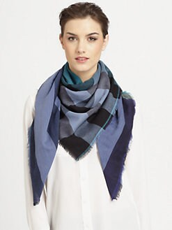 Burberry - Giant Check Wool & Cashmere Scarf