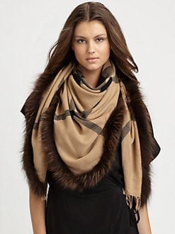 Burberry - Fur-Trimmed Check Scarf