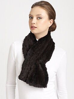 Michael Kors - Knitted Rabbit Fur Pull-Through Scarf