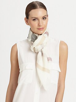 Burberry - Multicolor Check Gauze Wool & Cashmere Scarf