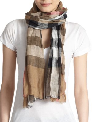 Giant Exploded Check Linen Scarf