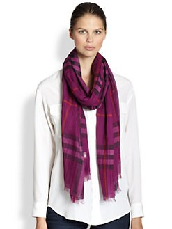 Burberry - Giant Check Wool & Silk Scarf