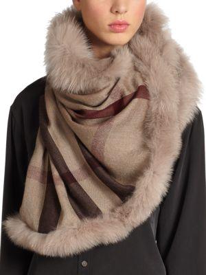 Fox Fur-Trimmed Check Scarf