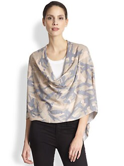 Minnie Rose - Printed Camo Cashmere Ruana