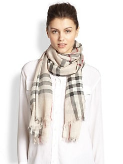 Burberry - Giant Check Gauze Cashmere Scarf