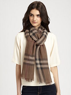 Burberry - Wool/Silk Gauze Giant Check Scarf