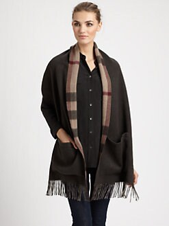 Burberry - St. Helene Check Cashmere Pocket Scarf