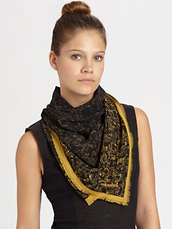 Burberry - Silk Tweed-Border Scarf