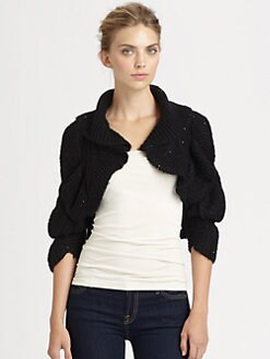 Harrison Morgan - Ruffled Chunky Knit Shrug
