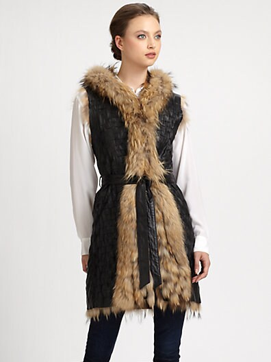 Mia Reversible Asiatic Raccoon Fur & Leather Vest
