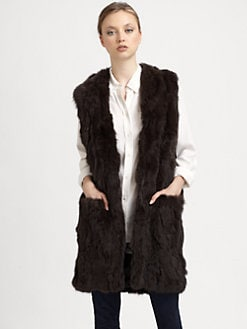Adrienne Landau - Long Textured Rabbit Vest