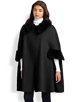Adrienne Landau - Wool & Cashmere Rabbit Fur-Trimmed Cape Coat