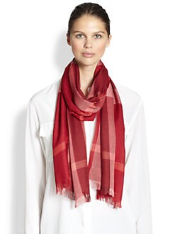 Burberry - Check Silk & Cashmere Scarf