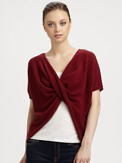 Minnie Rose - Cashmere Twist-Front Ruana