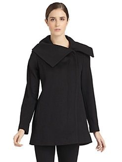 BLACK Saks Fifth Avenue - Oversized Collar Wool Coat