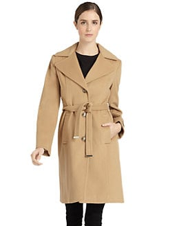 BLACK Saks Fifth Avenue - Wool Belted Coat