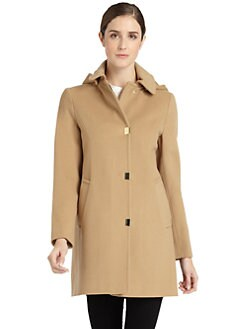 BLACK Saks Fifth Avenue - Wool Goldtone Snap Coat