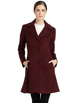 BLACK Saks Fifth Avenue - Notch Lapel Wool Coat