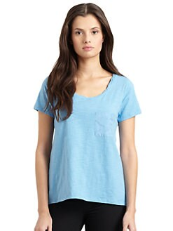BLUE Saks Fifth Avenue - One-Pocket Scoopneck Slub Knit Tee