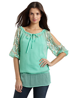 BLUE Saks Fifth Avenue - Sequin-Embellished Cutout Blouse