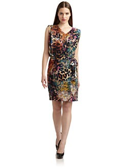 Suzi Chin - Multicolor Faux-Wrap Dress