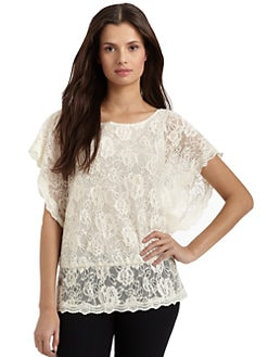 BLACK Saks Fifth Avenue - Lace Blouson Top