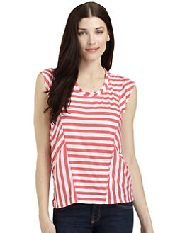 BLUE Saks Fifth Avenue - Seamed Striped Top