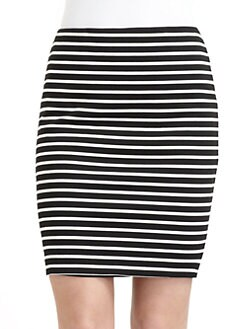 BLACK Saks Fifth Avenue - Striped Knit Skirt