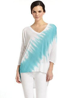 BLUE Saks Fifth Avenue - Isla Tie-Dyed Hi-Lo Tunic/Blue & Wite