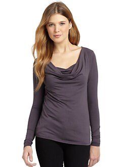 BLACK Saks Fifth Avenue - Draped Long Sleeve Top
