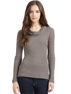BLUE Saks Fifth Avenue - Ribbed Cowlneck Hooded T-Shirt