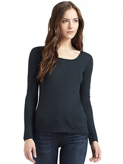 BLUE Saks Fifth Avenue - Ribbed Long Sleeve T-Shirt