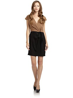 BLACK Saks Fifth Avenue - Colorblock Tie Dress