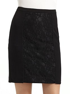 BLACK Saks Fifth Avenue - Lace Panel Skirt