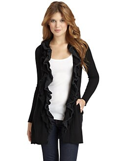 BLACK Saks Fifth Avenue - Merino Wool Ruffle Cardigan/Black