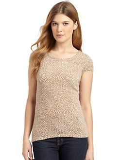 BLACK Saks Fifth Avenue - Pebble Print Cap Sleeve Cashmere Top